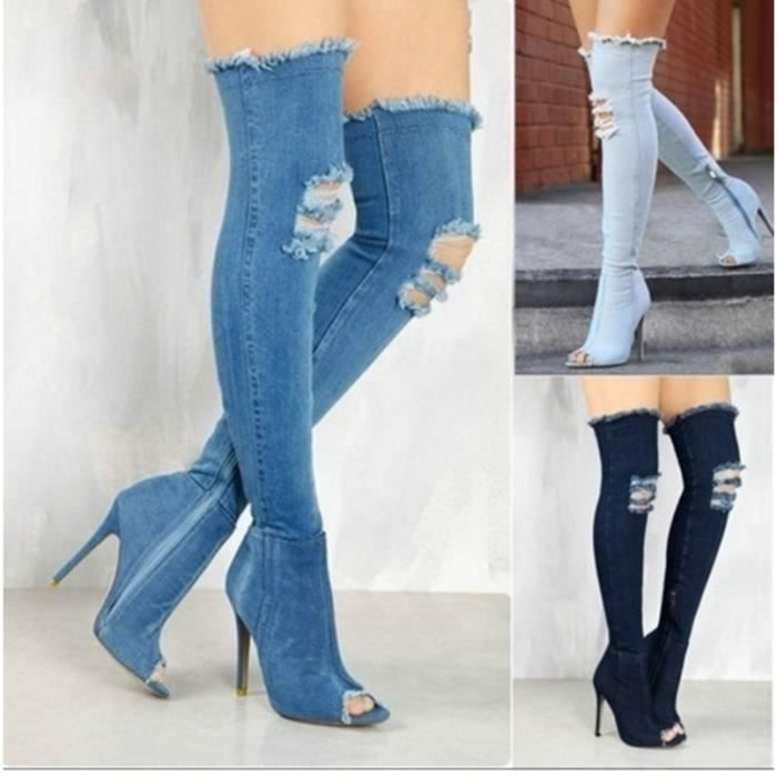 Femmes Mode Cuissardes Denim ouvert Toe Shoes Stiletto Bottes Lady Casual Cuissardes Talons minces,bleu marin,6