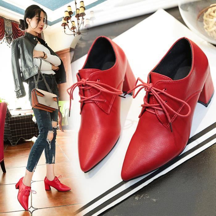 Hotskynie®Mode pompes sandales lacet-up talons haut bloc motard pour femmes Rouge*XYM70921904RD