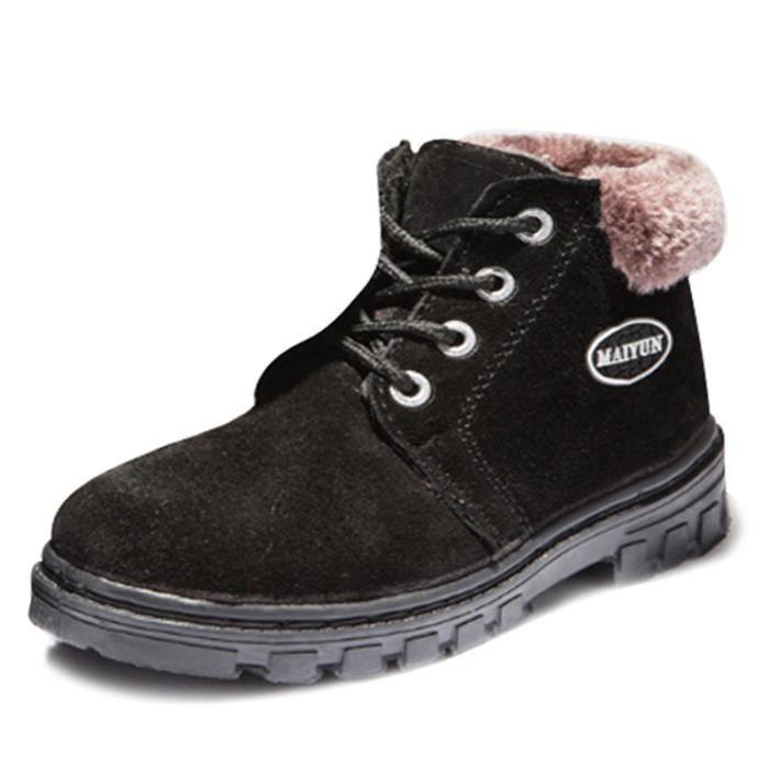 Martin Boots Enfants Hiver Garçons Fille Classique Chaussures BBZH-XZ101Noir30