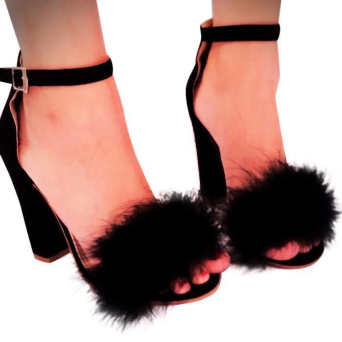 Sandales Talon Chaussures noir Fourrure Cravate Plates Cheville Femmes formes Dames Bloc Haut Strappy tPxqwwITF