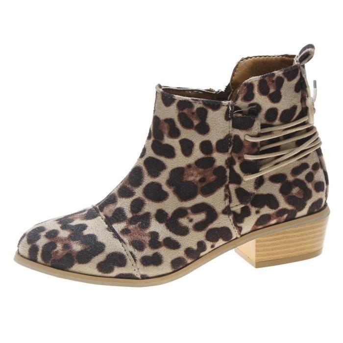 56e1714cd3e Femmes cheville court bottillons imprimé léopard Suede Martin Bottes  Chaussures Zipper Bottes Kaki