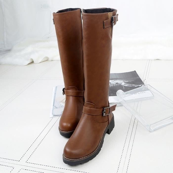 Brun Bottes d'hiver avec Basse Haute Bottes Leg Bottes dames.