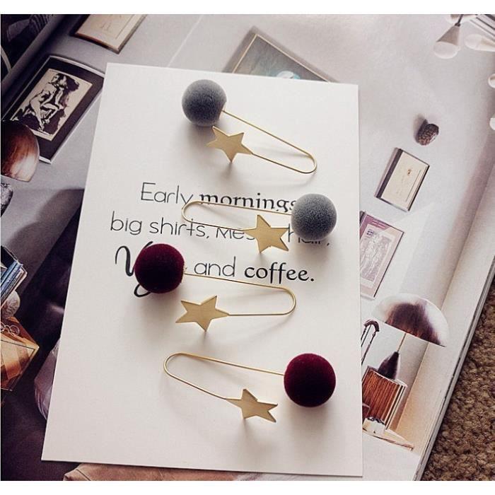 Bijoux mode 2018481 boucle doreille pendentif simple mode Pompon femme tempérament doux gris