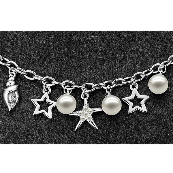 Bracelet Charms Cristal de Swarovski Elements Perle, Etoiles et Plaqué Rhodium