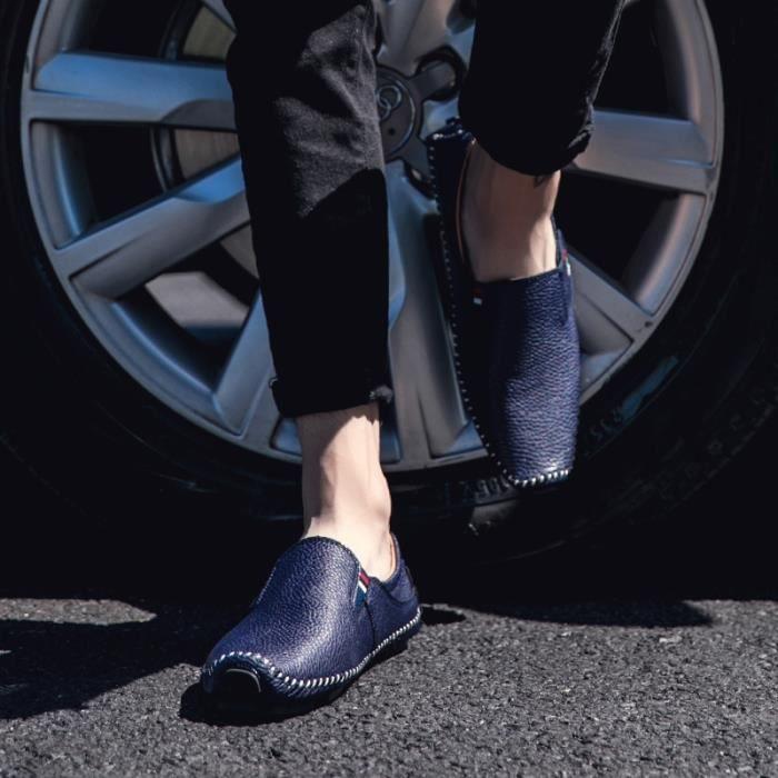 Mens britannique Soft Style Mocassins Chaussures Breatherable Driving désherbage Chaussures (le noir, blanc, bleu)
