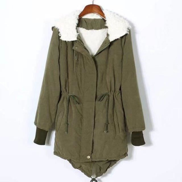 Parka Vert Manteau Bureau Femmes Cachemire Grande noir Mode Agneau Hoodies Long Automne Taille Moyen Hiver Chaud Swqd6Uw