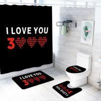 RIDEAU DE DOUCHE Je vous aime trois mille fois Antiderapant toilett