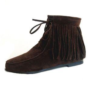 BOTTINE SIMPVALE Femme Fille Boots Duveteux Décoré Franges