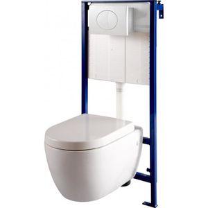 WC - TOILETTES Pack wc suspendu Mural + cuvette carénée blanche m