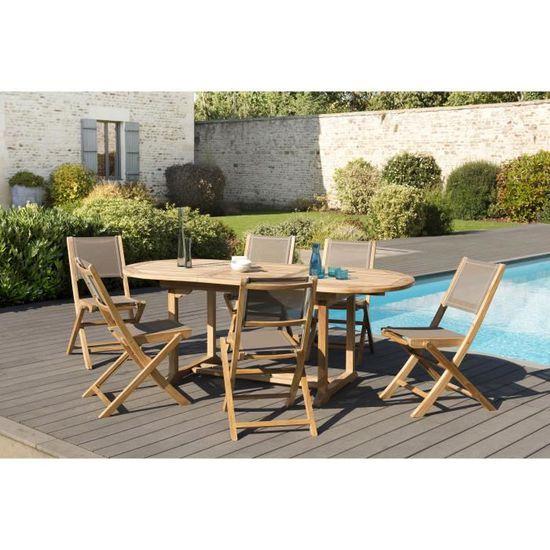 Ensemble de jardin en teck : 1 table ovale extensible 150 / 200 x 90 cm - 3  lots de 2 chaises pliantes en textilène couleur taupe JA