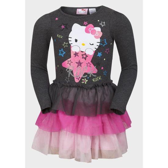 a5ab529851c Robe tutu filles 4 - 5 ans Hello Kitty Rock vêtements enfants à volant  SANRIO pour automne hiver rose Gris rose - Achat   Vente robe 2009906232223  - ...