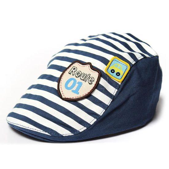 Enfant Bébé Garçon Fille Chapeau Béret Casquette Rayé Bonnet Soleil Cap  Visière 3 Deep Blue - Achat   Vente casquette 6414970303223 - Soldes  dès  le 9 ... ec8a4f44ff8