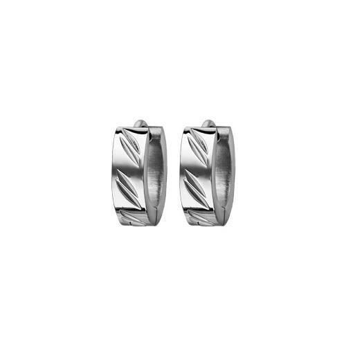 Créoles acier 5mm articulées diamantées en biais d