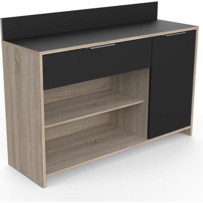 L 123 x P 4 0 x H 85 cm - 1 porte + 1 tiroir + 2 niches - Décor chêne brut et noir - Garantie 2 ans - Fabrication françaiseBUFFET DE CUISINE