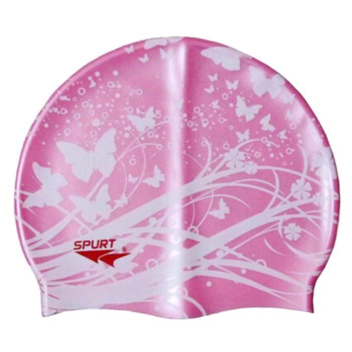 Bonnet de bain Professional Ear Protection étanche Swim Cap papillon Rose