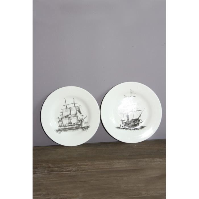 Assiettes décoratives 20 cm voiliers - Achat / Vente assiette ...