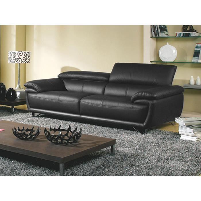 magasin d'usine d9250 311d1 Canapé 3 places en cuir supérieur noir BAYA