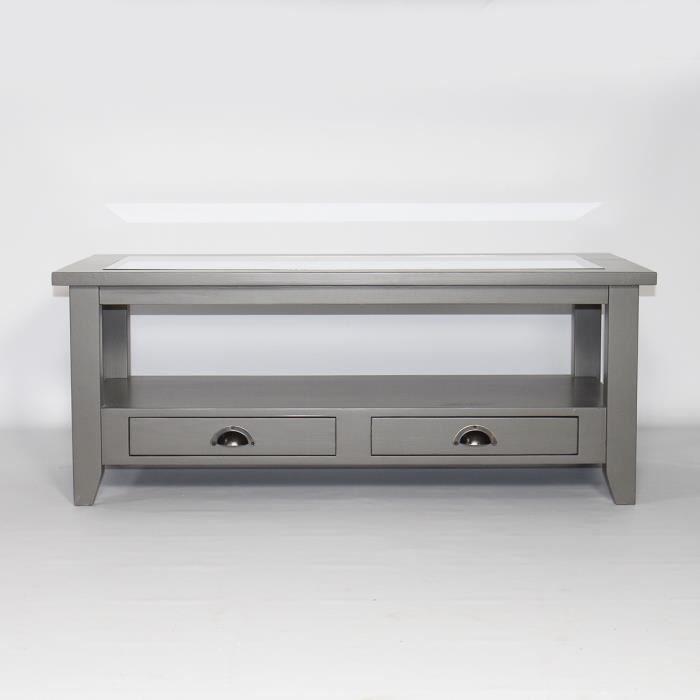 table basse bois massif gris fonc plateau en verre calvi gris fonce