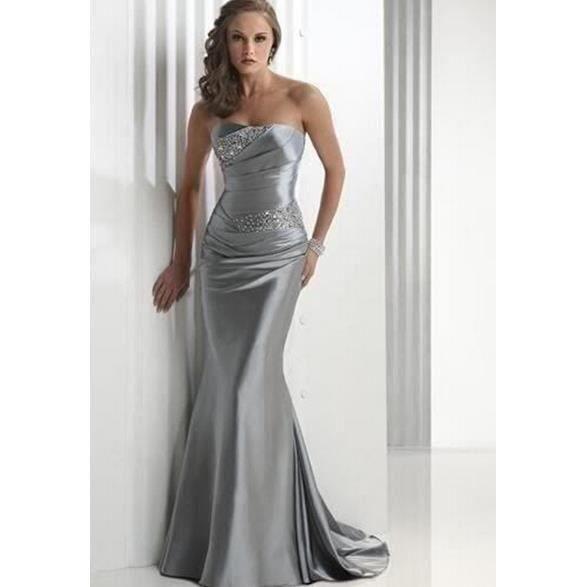 perlage strapless robe de bal en satin robes sirène du parti