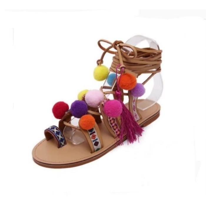 Bohème Ethnique Été Femme Sandales Mode Coloré pompons Bander Désign Sexy  Sandales Grande Taille Tassel Brodé Sandales 3f5500dda5b