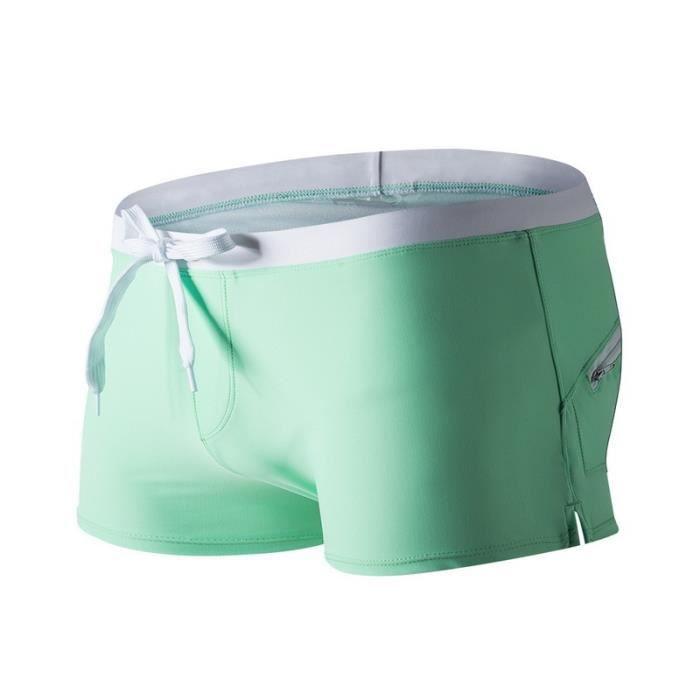Bain Vite le Courte Lac Respirant Boxers Côté Sèche Sexy Stretchy sur Homme Taille Nylon Fendue Super en Vert de avec Shorts Basse VGzMLSqUpj