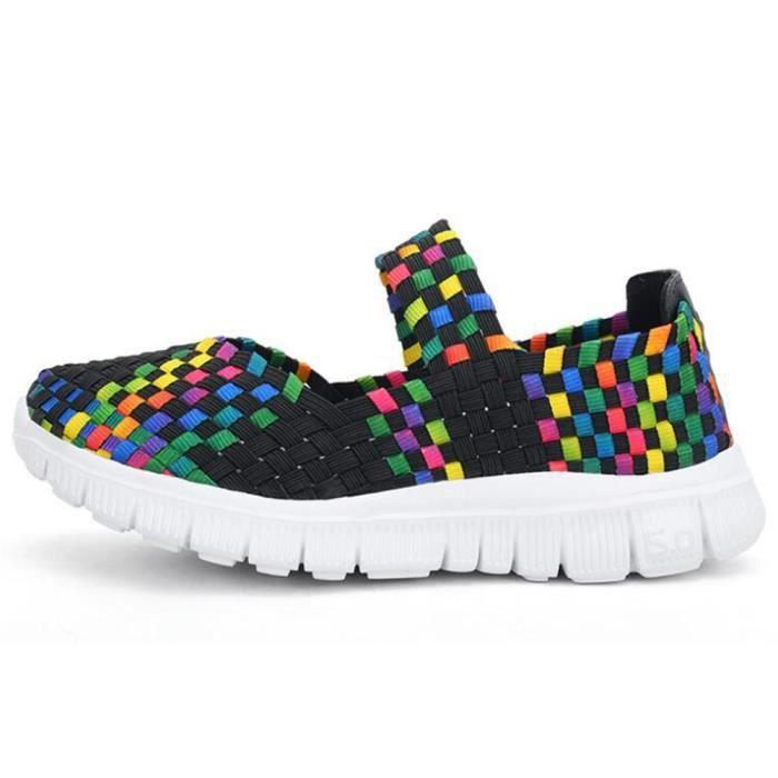 Chaussures Tissent sandale femme Printemps ete Mixte Couleur à Carreaux Respirant Casual Sport Chaussures Mocassins ekebU5tT