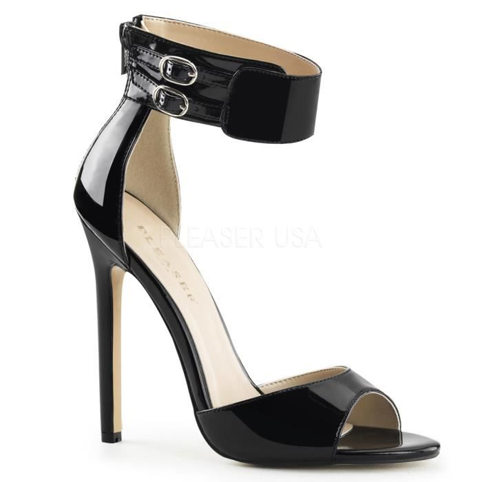 Pleaser SEXY-19 5 Inch Heel Closed Back Ankle Strap Sandal, Back Zip