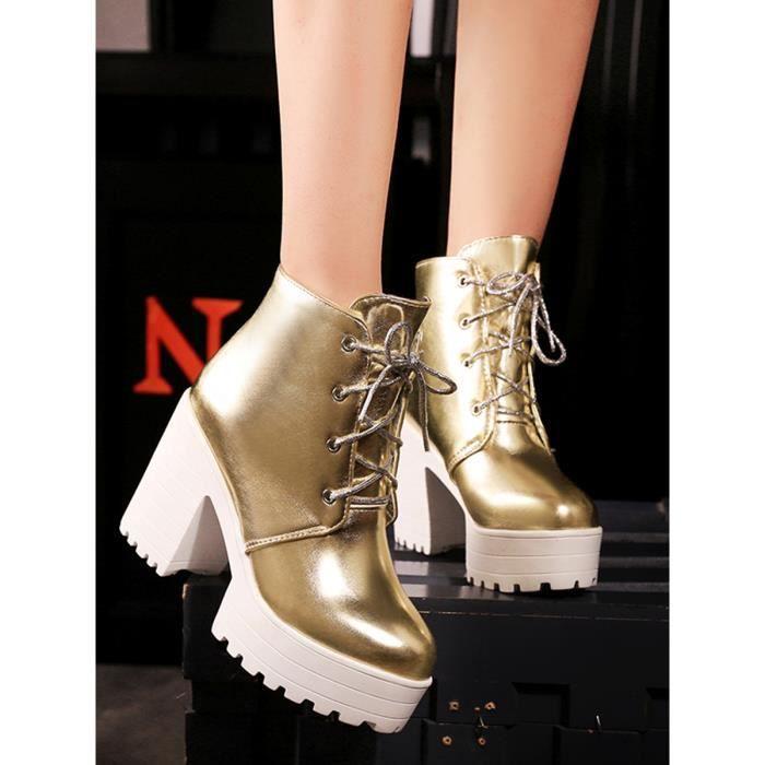 Martin Bottes épais talon tendance sélectionl Fashion Lace Up Chaussures femme 11790144
