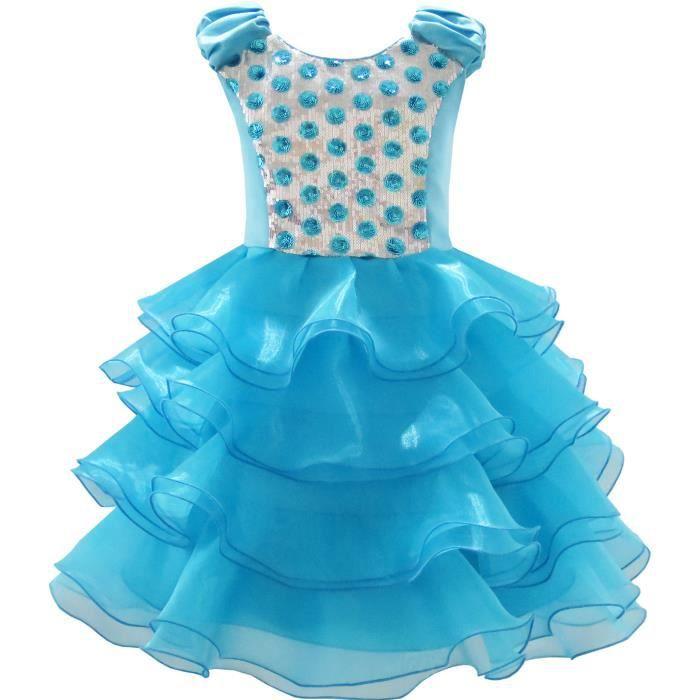 Habiller Robe ans 12 Partie Sequin Tulle Fille Étagée Ruffles 4 Princesse wIvaPIpq