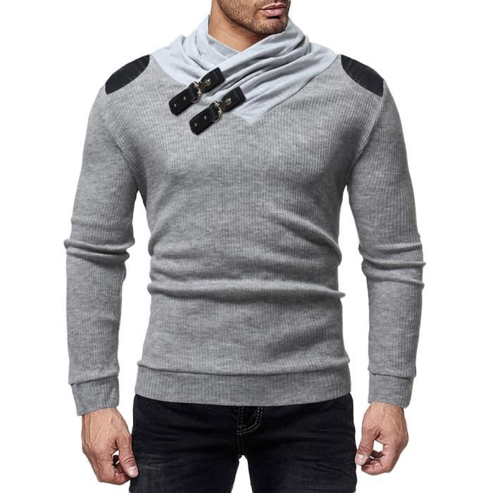 0c9be45868a Pull Homme Manches Longue chandail mode chaud Automne Hiver Tricot  Chemisier col châle Pull-over Décontracté