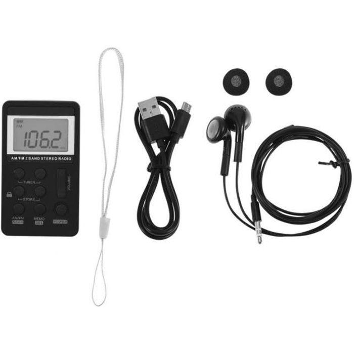 Mini Am / Fm Stéréo 2 Band Radio De Poche Lcd & Écouteurs Batterie Rechargeable-cy