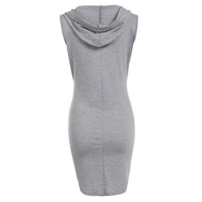 robe occasionnelle Mini solide Sans manches à capuche Hooded Sexy