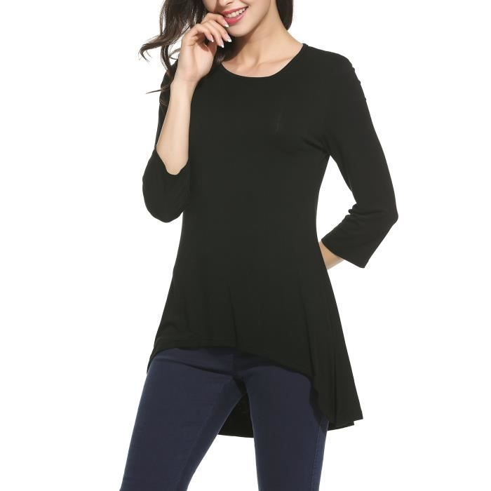 Top Blouse Euqpg Solid low 34 Tunic Women's Long Flowy Jersey Taille Elbow Sleeve High xwHvAzFqZ