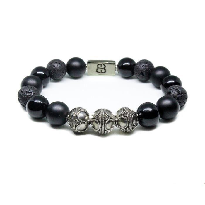 Onyx est noir et les femmes Lava Bracelet Pierre, Designer Bracelet, Bracelet Pierre Noir Mixte VDX3L