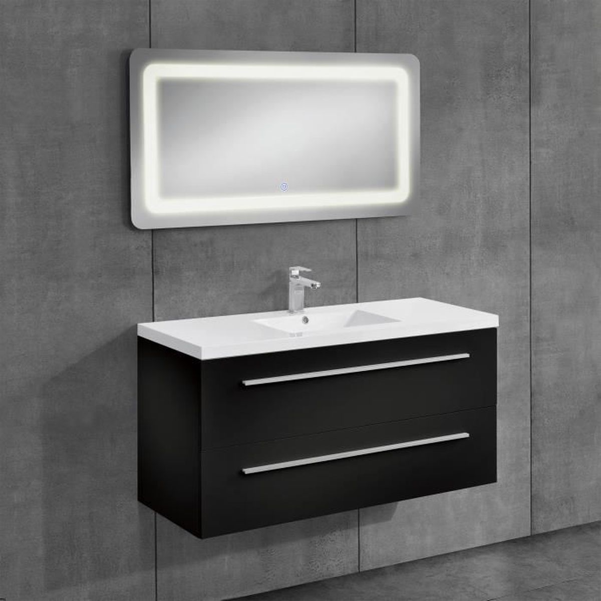 armoire de toilette avec lavabo noir miroir 500x700mm achat vente colonne armoire sdb. Black Bedroom Furniture Sets. Home Design Ideas