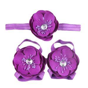 Napoulen®3Pcs bébé pieds nus dentelle Chaussures sandales fleurs chaussures ensemble BK-XPP10200509 3dMP6YgzB7