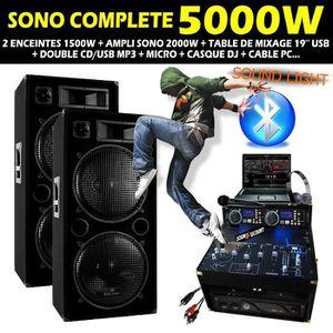 PACK SONO SONO DJ COMPLETE 5000W avec ENCEINTES AMPLI DOUBLE