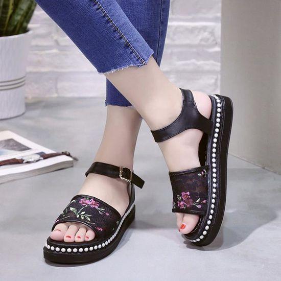 Femmes Sandales Dentelle Fleur été Slip-on Appartements Sandales Casual Ladies Chaussures@Noir Noir Noir - Achat / Vente slip-on