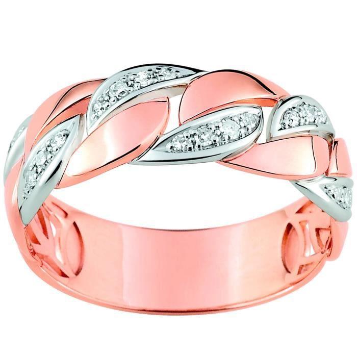 Bague Brillaxis or rose et blanc 18 carats diamants