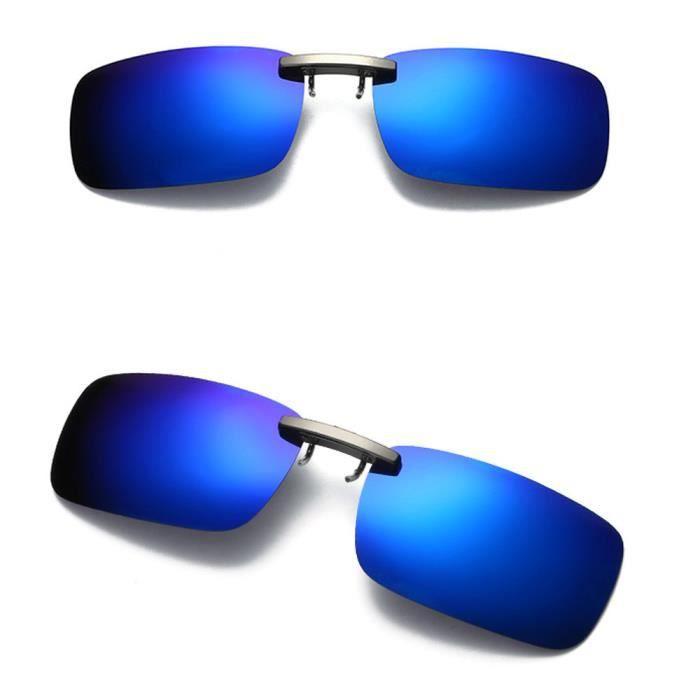 cd-8936 Vision nocturne amovible Objectif conduite Polarized clip en métal Lunettes de soleil sur bleu