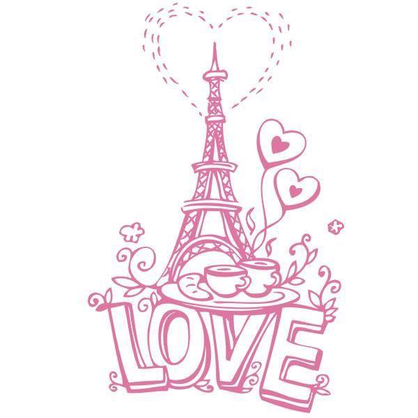 Sticker paris tour eiffel de l 39 amour dessin 50x31 cm rose amour010 achat vente stickers - Dessin de l amour ...