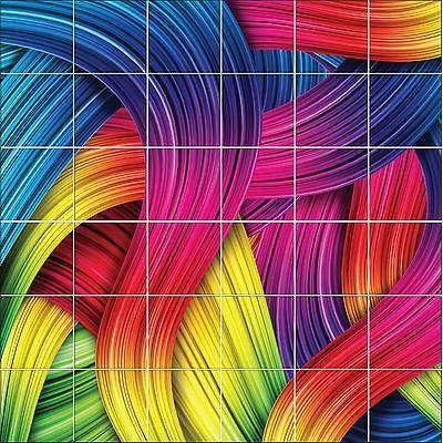 Stickers Carrelage Mural, Faience,déco Cuisine Ou Salle De Bain Colorée  Réf1896 Dim Carreau: 10x10cm, Dim Totale: 80x80cm