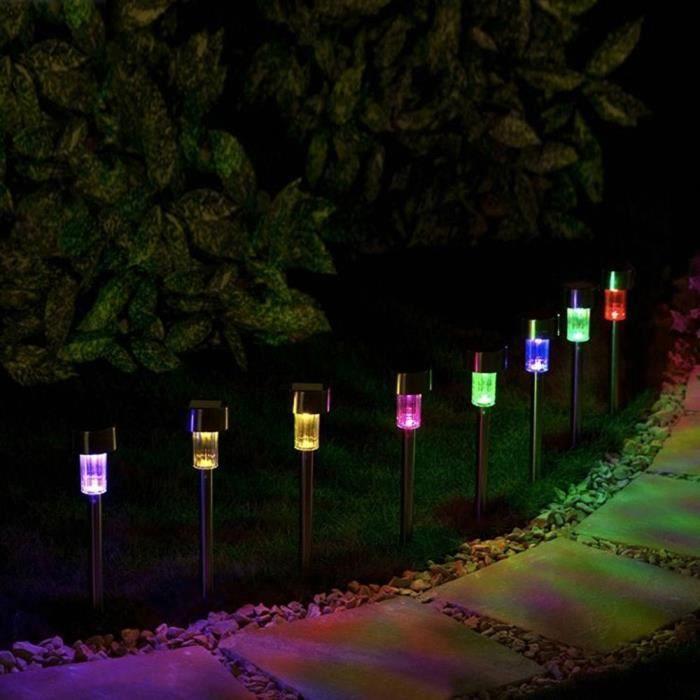 1pc Led Lampe Solaire Acier inoxydable Coloré Projecteur Extérieur ...