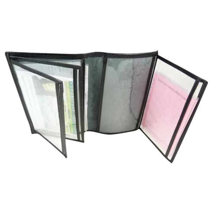 pochette de protection etui porte carte grise gris noir achat vente portefeuille. Black Bedroom Furniture Sets. Home Design Ideas