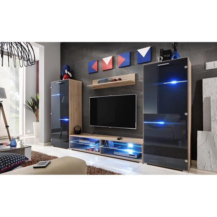 meuble tv mural design nodem bois et noir achat vente. Black Bedroom Furniture Sets. Home Design Ideas