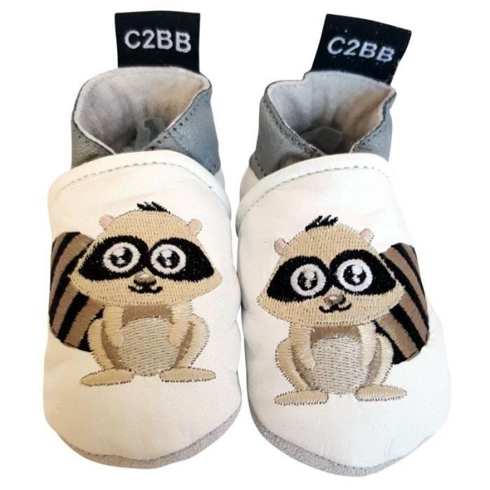 C2BB - Chaussons bébé en cuir souple brodé HFEeZ16AL