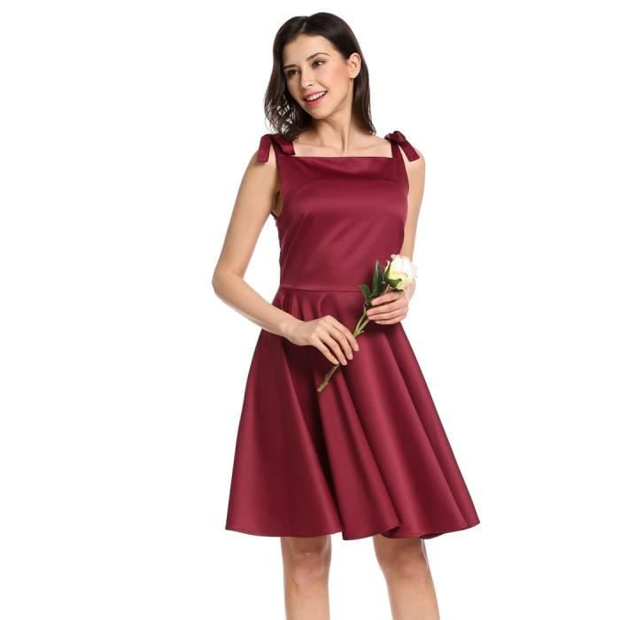 Style Sleevess Casual Robe Square Vintage Femmes dentelle Neck f87q7Pz