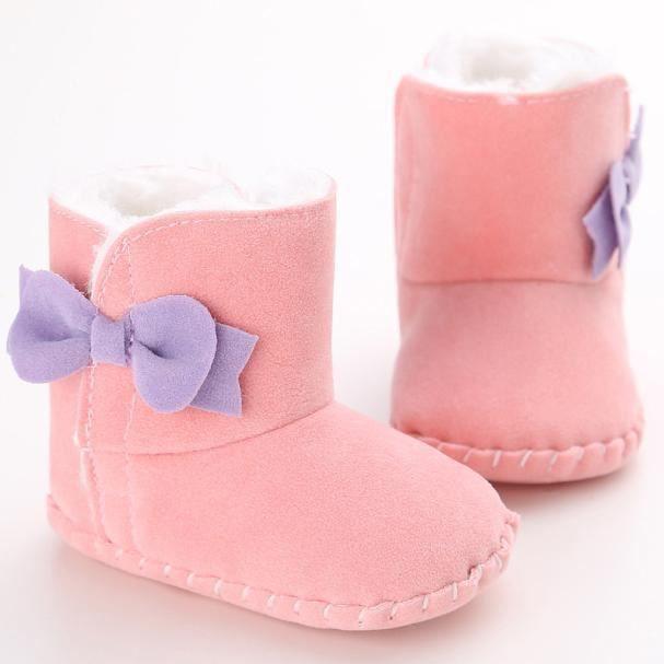 Bébé garder chaud semelle molle bottes de neige Soft berceau chaussures tout-petits rose SvTUU5oq