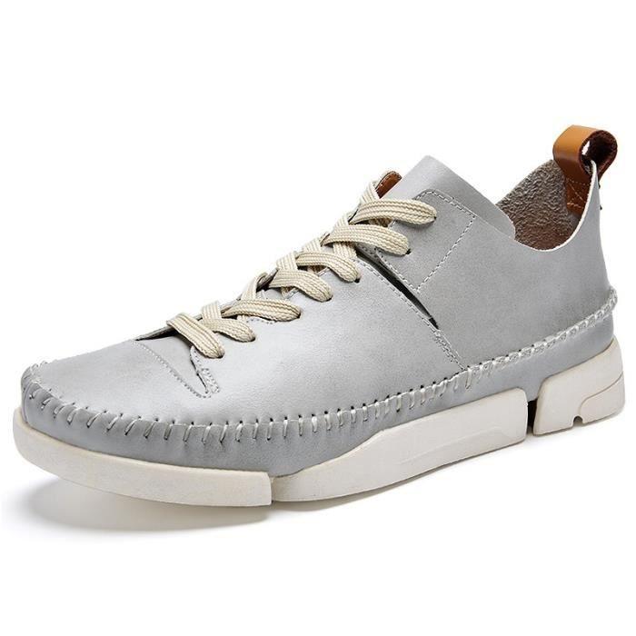 Mode Hommes & # 39; Chaussures de sport de course Chaussures Homme Casual British Respirant Flats Chaussures,bleu,42