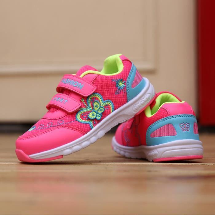 Chaussures d'enfants automne New Mesh Girl Sneakers Electric brodé papillon enfants Chaussures belle princesse douce chaussures de